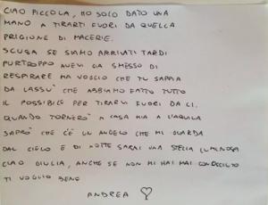 La lettera del papà di Giulia, morta sotto le macerie.