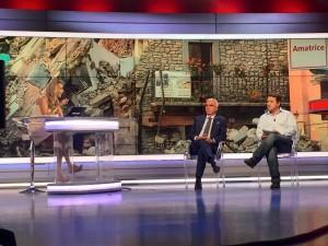 Uno scatto dagli studi di Sky Tg24 sulla diretta dedicata al terremoto e alla prevenzione sismica