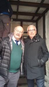 Mario Ciammitti e Antonio D'Intino durante i lavori di inserimento della Stanza Antisismica nello studio dell'Ingegnere