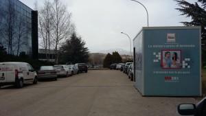 Il prototipo della Stanza Antisismica esposto nel cortile dei nuovi uffici di Rete Impresa in via Ulisse Nurzia