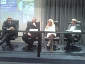 La conferenza stampa, da sx: Antonio D'Intino, il Sindaco di Faenza Giovanni Malpezzi, Paola Logorio e Alessandro Martelli