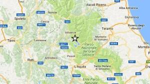 L'area dei comuni colpiti dal sisma di questa mattina: Campotosto è l'epicentro
