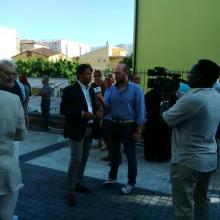 Stefano Cipriani durante l'intervista della tv all'inaugurazione del condominio Astro. Cipriani è il titolare di gaia Costruzioni che ha eseguito i lavori e Presidente di rete d?impresa che ha acquisito l'escusiva su L'Aquila del brevetto Stanza Antisimica