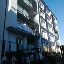 Vista parziale del condominio Astro in via Moscardelli 9 di L'Aquila: è stato inaugurato oggi 4 agosto alla presenza di una folta platea