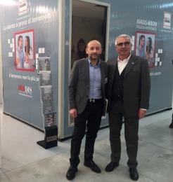 Antonio D'Intino inventore della Stanza Antisismica con Marco Crescenti organizzatore del Salone Riabita, a sinistra