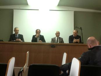 La conferenza stampa di presentazione della II Giornata Nazionale della prevenzione sismica, del 17 aprile scorso, con Antonio D'Intino, i Presidenti Ance, Ordine Ingegneri e Confcommercio