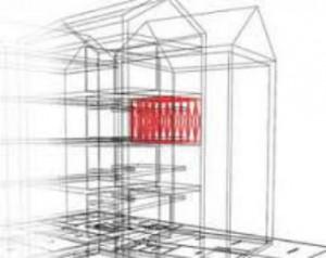 Nell'immagine è visibile la collocazione di una stanza antisismica all'interno di un condominio