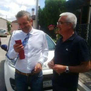 Il Sindaco di Avezzano Giovanni Di Pangrazio, a sinistra, con Antonio D'Intino inventore della Stanza Antisismica